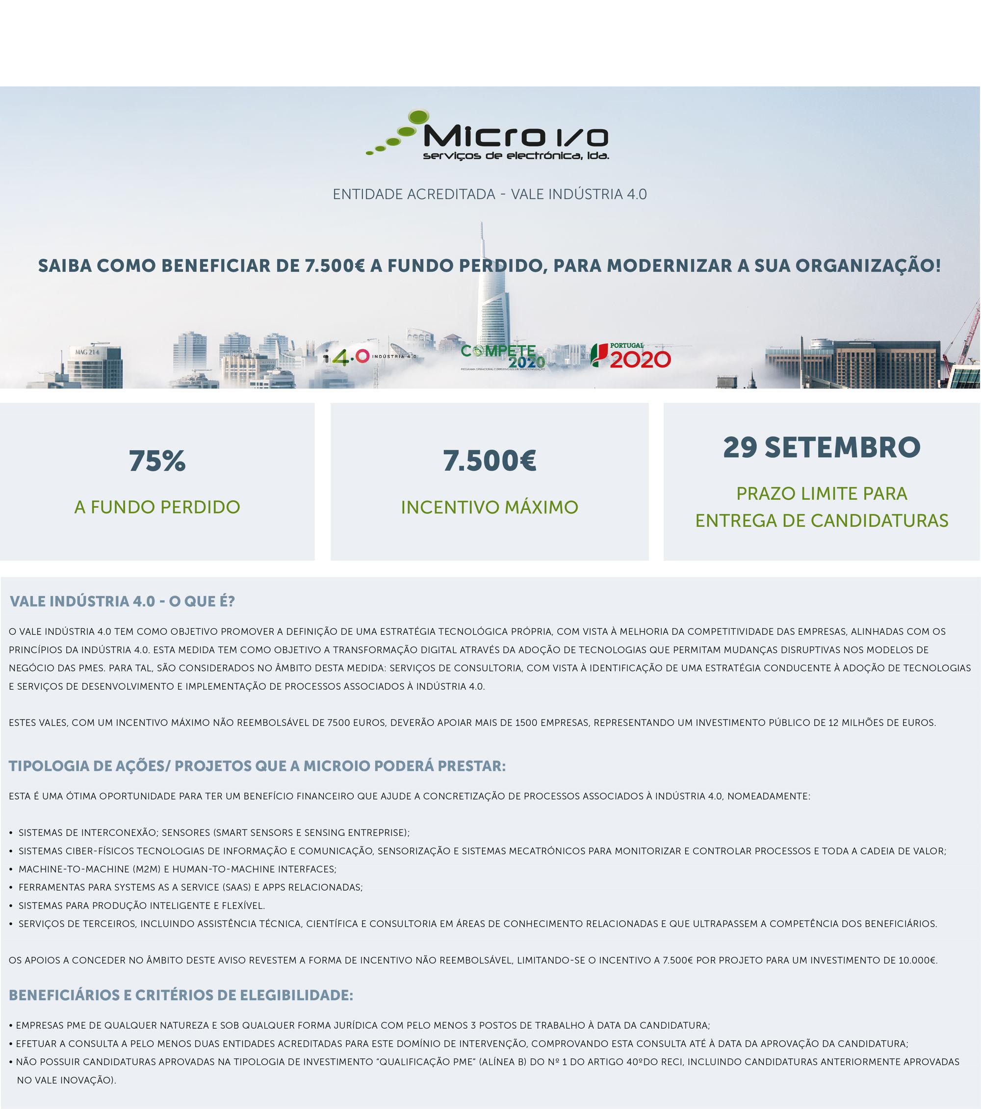 VALE INDUSTRIA 4.0. 7500€ a fundo perdido